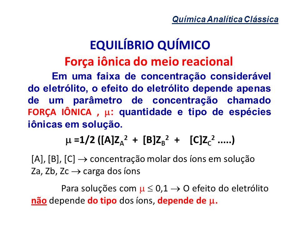Força iônica do meio reacional  =1/2 ([A]ZA2 + [B]ZB2 + [C]ZC2 .....)